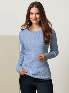 Relief Pullover Cashmere Mix Hellblau Detail 1