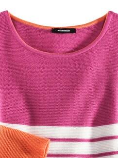 Pullover Bretonstreifen Orange/Pink/Weiß Detail 3
