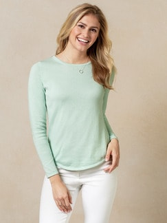 Baumwoll-Cashmere Pullover Mint Melange Detail 1