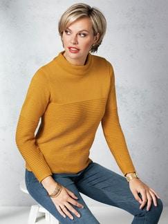 Kaminkragen- Pullover Querrippe Safran Detail 1