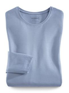 Viskose Shirt Langarm Rauchblau Detail 2