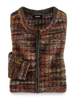 Alpaka Strickjacke - Soft Boucle Rost Detail 2