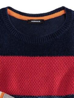 Streifen Struktur-Mix Pullover grau/Blau/Rot Detail 4