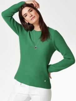Cashmere Leicht-Pullover Grasgrün Detail 1