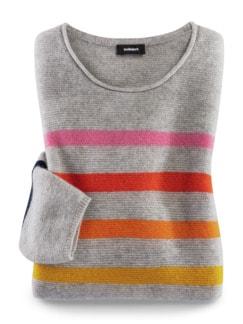 Cashmere Leicht-Pullover Multiringel grau gestreift Detail 3