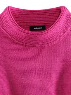 Kaminkragen Pullover Querrippe Himbeere Detail 3