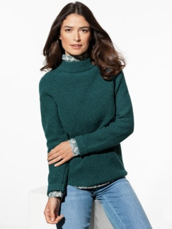 Cashmino Stehkragen-Pullover Smaragdgrün Detail 1