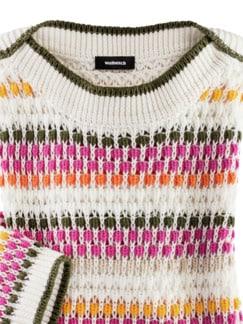 Pullover Strukturtupfen Offwhite/Fuchsia Detail 3