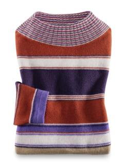 Stehkragen-Ringel-Pullover