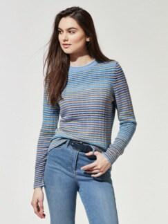 Multi-Ringel-Pullover Farbverlauf Skyblue Detail 1