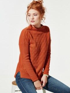 Seiden-Cashmere-Pullover Zimt Detail 1