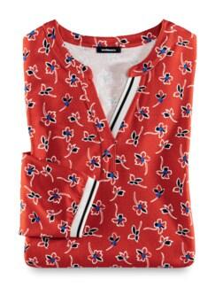 Millefleurs Shirt Strandspaziergang Karminrot Detail 2