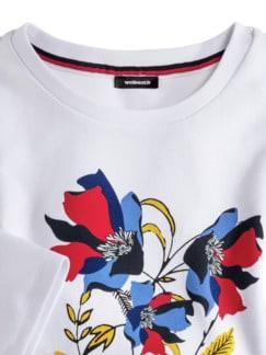 Baumwollshirt Blumenmuster Weiß Detail 3