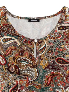 Paisleyshirt Flaschengrün/Camel Detail 3