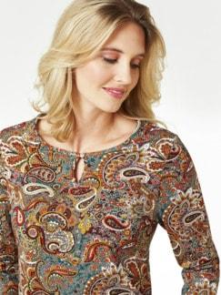 Paisleyshirt Flaschengrün/Camel Detail 4