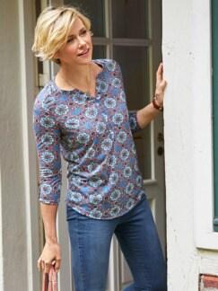 Ausbrenner-Shirt Kachelmuster Rauchblau Detail 2