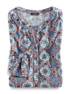 Ausbrenner-Shirt Kachelmuster Rauchblau Detail 3