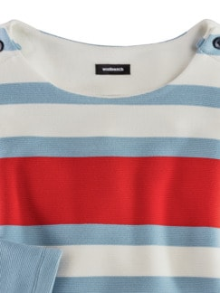 Struktur-Sweatshirt Skyblue/Rot gestreift Detail 3