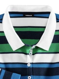 Langarm-Polo Querstreifen Grasgrün Multicolor Detail 3