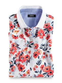 Pique-Polo Sommer Cotton Blumendruck Detail 2