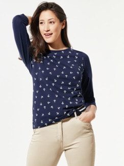 Baumwoll-Shirt Maritim Blau/Weiß Anker Detail 1
