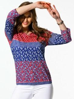 Blouson-Shirt Streublumen Rosenholz/Mittelblau Detail 1
