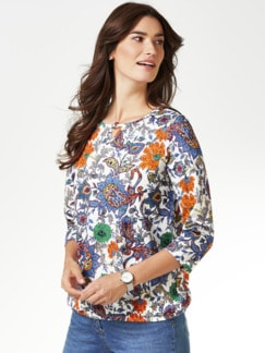 Blouson-Shirt Blumen-Paisley Grasgrün/Mandarine Detail 1