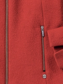 Reißverschluß-Kochwollblazer Karminrot Detail 3