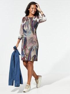 Jerseykleid Blätterprint Caramel/Violett Detail 1