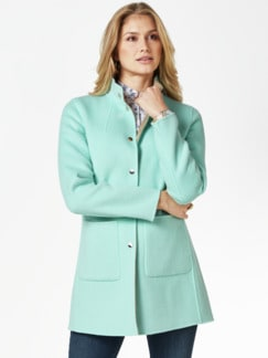 Double Face Wolljacke mint/beige Detail 1