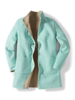 Double Face Wolljacke mint/beige Detail 2