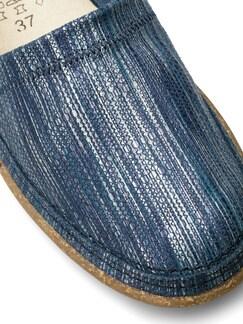 Koffer-Slipper Blau/Silber Detail 4