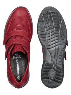 Hirschleder-Doppelklett-Schuh Rot Detail 2