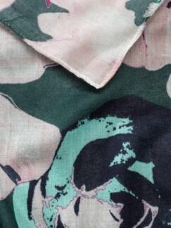 Viskose Schal Blumendruck Flaschengrün Detail 3