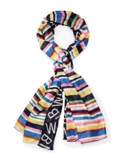 Colorblocking Streifen-Schal Multicolor Blau Detail 1