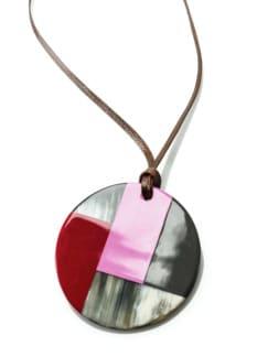 Hornanhänger Grafikdesign Pink/Rot Detail 3