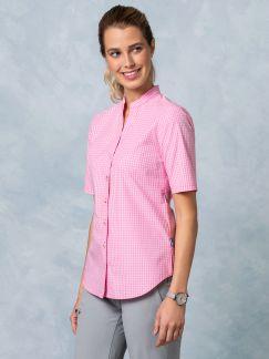 Klepper Bluse Stehkragen Minikaro Pink Detail 1