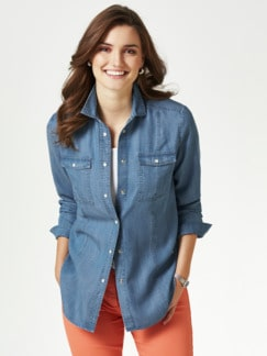 Lyocell-Jeansbluse Extraleicht Hellblau Detail 1