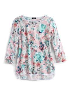 Viskose Shirtbluse Sommerleicht Geblümt Rose Detail 3