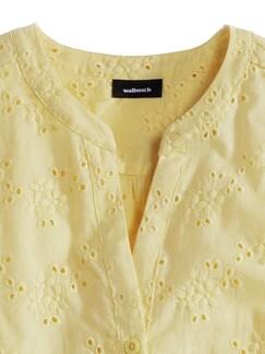 Lochstickerei-Bluse Gelb Detail 3
