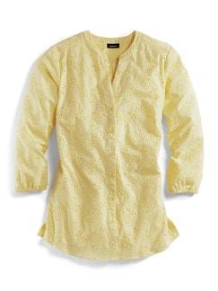 Lochstickerei-Bluse Gelb Detail 2