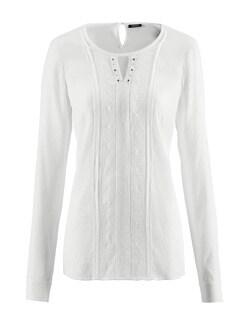 Just White Shirtbluse Spitzenwerk Creme Detail 2
