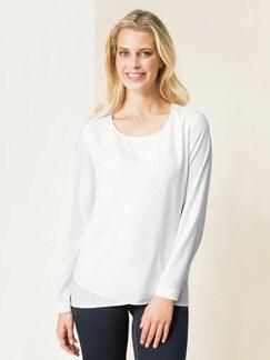 Layering-Shirtbluse Blickdicht Creme Detail 1