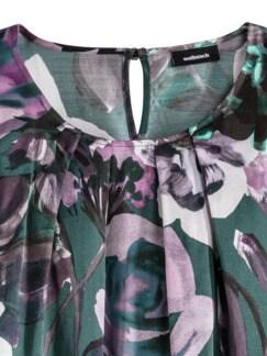 Edel-Shirtbluse Aquarellblüten Flaschengrün Detail 3
