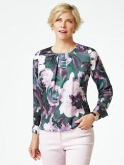 Edel-Shirtbluse Aquarellblüten Flaschengrün Detail 1