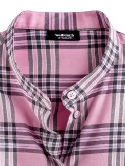 Stretchflanell-Stehkragen-Bluse Cashmere Rose Kariert Detail 3