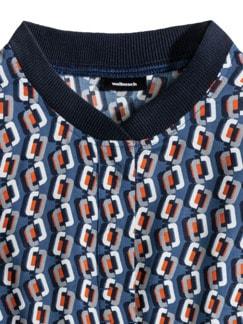 Strickkragen Shirtbluse Grafikdesign Rauchblau Detail 4