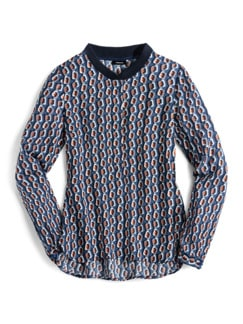 Strickkragen Shirtbluse Grafikdesign Rauchblau Detail 3