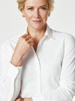 Extraglatt Pique-Bluse Weiß Detail 4