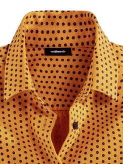 Kuschelflanell-Bluse Tupfen Safran Detail 3